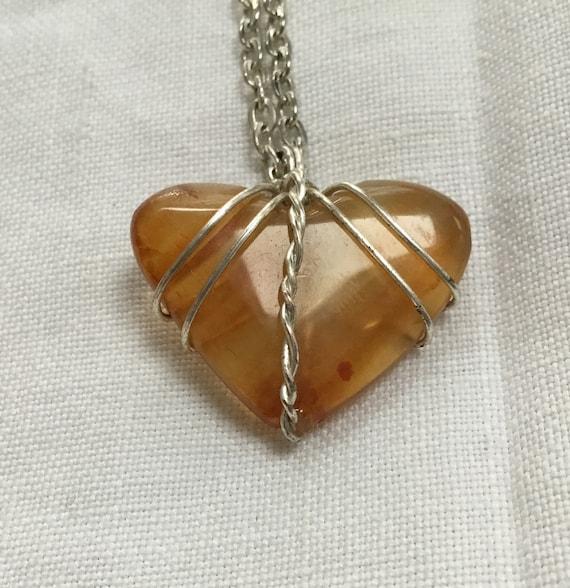 Orange carnelian heart necklace. Silver wire and stone heart necklace. Stone heart pendant.Fall colors