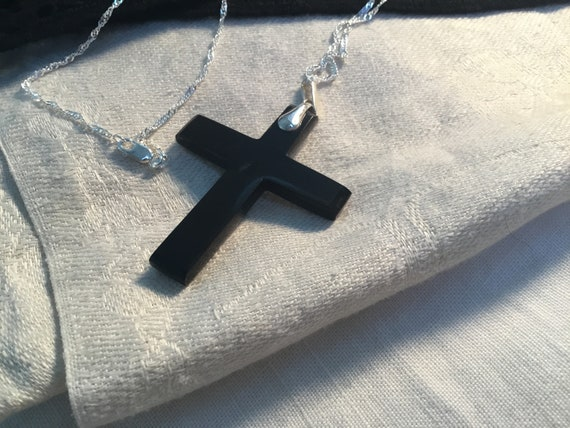 Black cross necklace/Onyx and sterling cross/Black stone cross/Religious jewelry/Christi an jewelry/Catholic gifts /pectoral cross