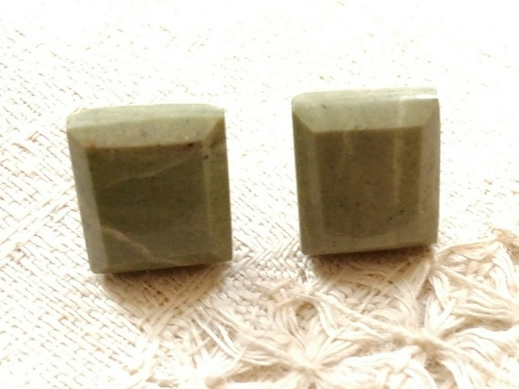 Pastel Green  stud earrings. Hand made Green stone studs. Square stud earrings.Moss  green jewelry.