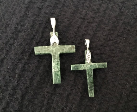 Green his and hers cross set/ Green stone and sterling cross pair/ mother and child set/  brother and sister cross set/significant other set