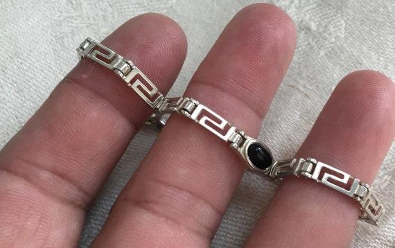 Sterling silver and black onyx bracelet/silver and black stone bracelet/sterling tennis bracelet/thin link bracelet/friendship bracelet