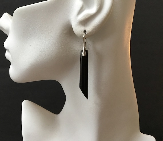 Black dangle earrings/Onyx and sterling drop earrings/long black and silver dangles/free shipping/