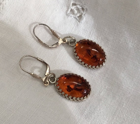 Amber oval drop earrings/ Amber and filigree/ Evening jewelry/womens jewelry/gift for her