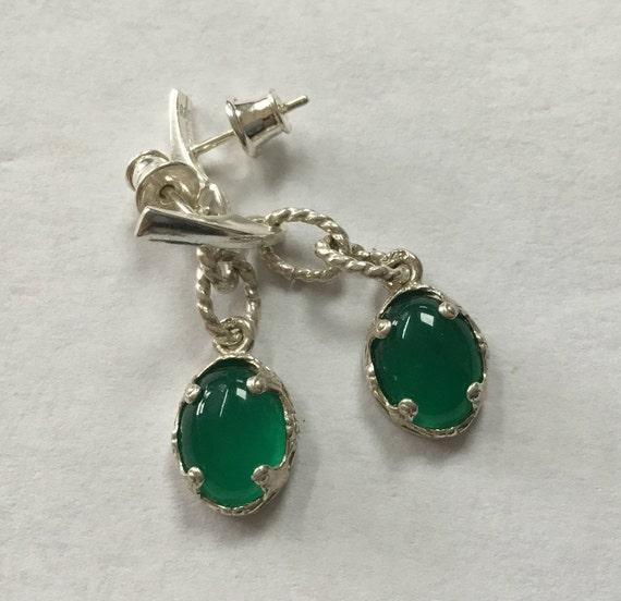 Green Cat eye filigree earrings. Green agate and sterling dangle earrings. Christmas jewelry. Maleficent jewelry