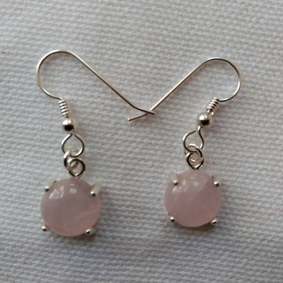 Pink round dangle earrings /round stone drops/ small sterling and stone drops/dangles for girls/ Gift for tween/womans jewelry.