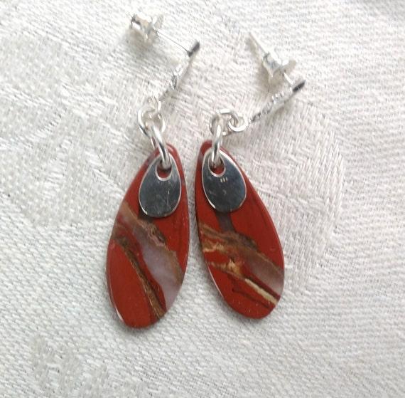 Red jasper dangle earrings/ red oval earrings/Red oval drop earrings/ rustic sterling  and stone jewelry/boho earrings/