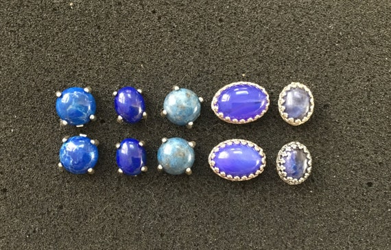 Blue stud earrings/ blue stone and sterling silver/womans studs/studs for girls and women/