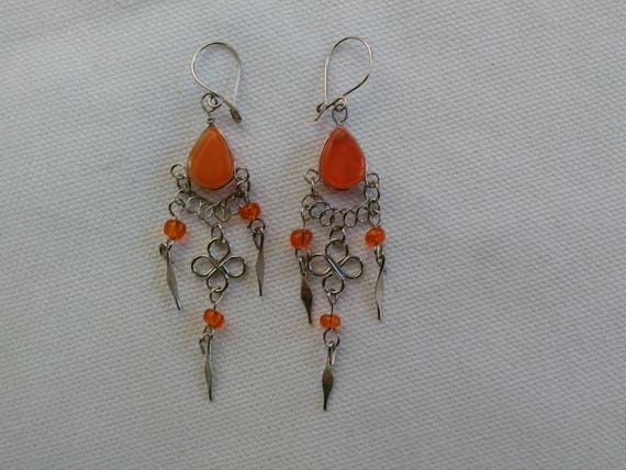 Orange Wire wrapped earrings/Silver wire beaded earrings/Orange earrings/Boho/hippie jewelry