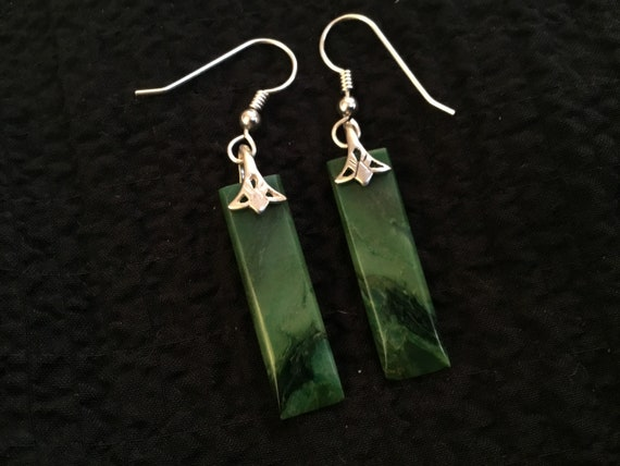 Green jasper and sterling dangles/stone and sterling earrings/ladies christmas earrings/natural green and black stone