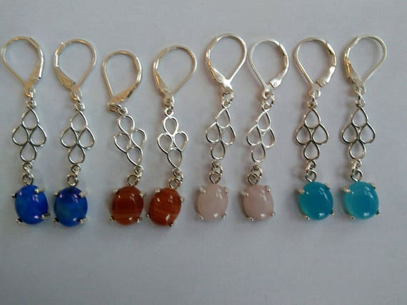 Blue Stone and sterling long drop earrings. Blue, red, pink and aqua. Long and fancy. Sterling and stone drop earrings.