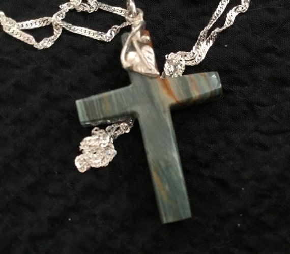 Gary green bog cross/petrified peat cross/green cross pendant/womans religous jewelry