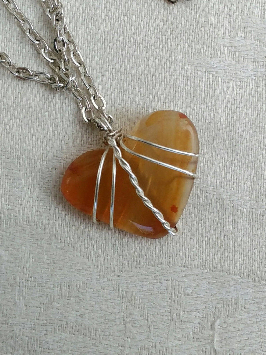 Orange carnelian wire wrapped heart. Silver wire and stone heart ...