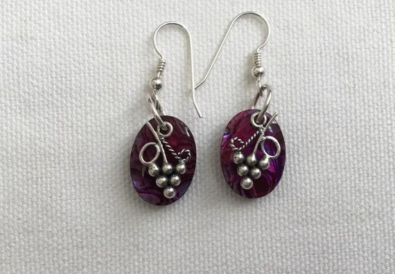 Purple grape earrings/ paua shall dangles/Fuchsia vino /wine lovers/