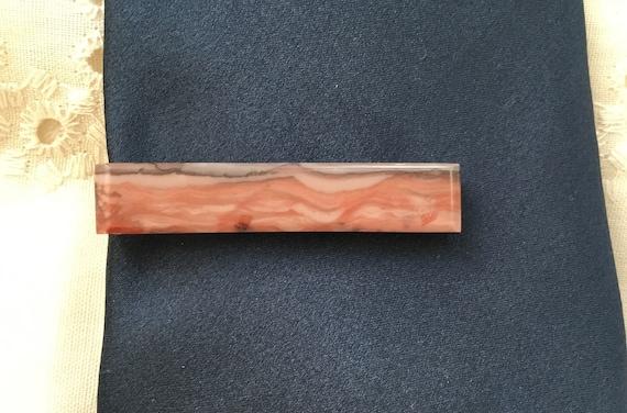 Red/ pink flint mens tie clip/abstract stone tie clip/tie accessories/Formal wear