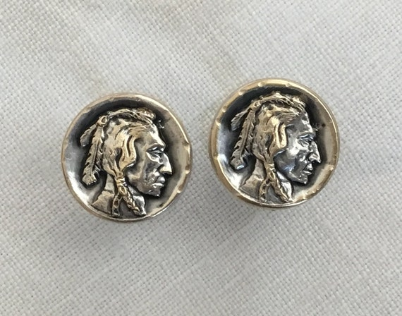indian stud earrings/ Indian warrior round studs/Silver plated indian coin studs/Vintage jewelry
