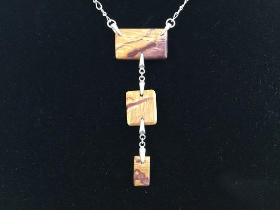 three stone drop necklace/ Lavalier necklace /Mookite and sterling necklace/Three tier necklace/choker necklace