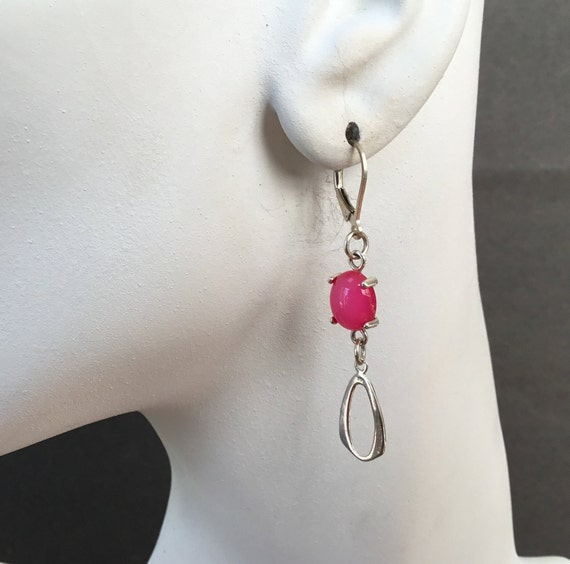 Hot pink dangle earrings/ fluorescent pink jewelry/bright pink drop earrings/ small pink oval/stone and sterling/onlystonejewelry