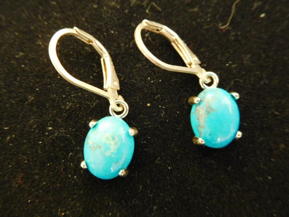 blue turquoise small dangles/ oval turquoise earrings/ blue jewelry/ real turquoise jewelry/ drops or studs