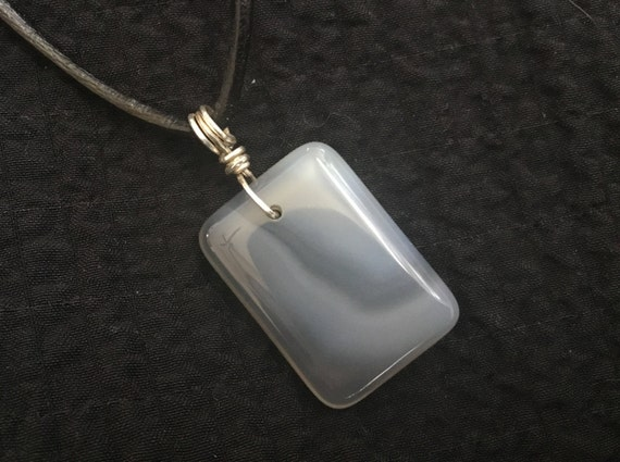 Gray stone pendant necklace/mans rawhide and stone pendant/unisex jewelry/storm grey jewelry/ shades of gray