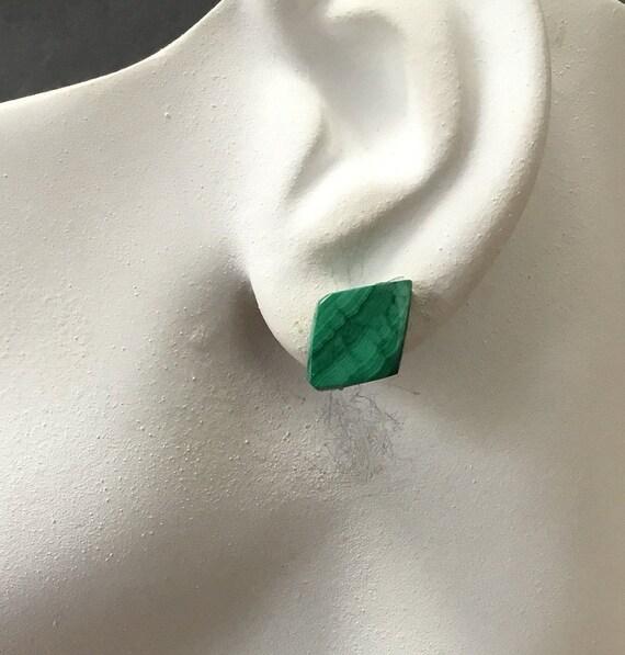 Green malachite stud earrings/diamond shaped studs/green stone studs/big studs/ green and black