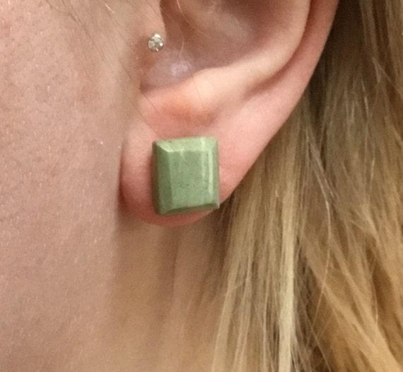 Pastel Green  stud earrings. Hand made Green stone studs. Square stud earrings.Moss  green jewelry.