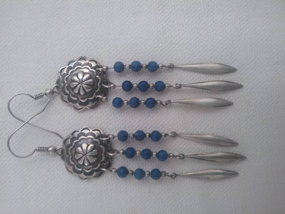 Blue Beaded dangle earrings/Sterling blue beaded drops/Long dangles/Boho jewelry/Vintage.