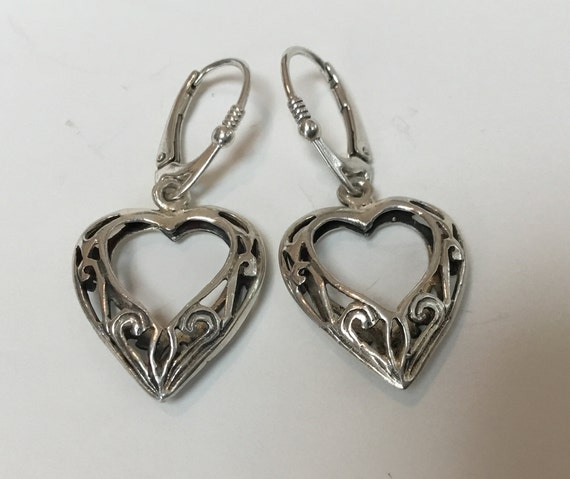 Sterling Heart earrings/ Filigree heart earrings/Sterling heart dangles/Valentine earrings/heart shaped jewelry /only stone jewelry