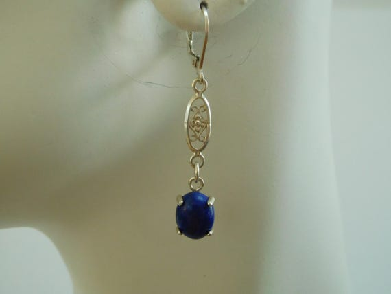 Blue agate and sterling silver drop earrings. Small and Delicate. Long and small dangles.