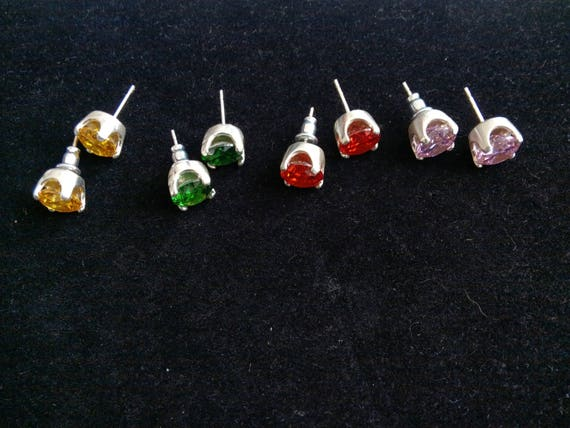 princess cubic  zirconia  earrings/colorful stud or drop earrings./Party favors /Gift for  girl/tween jewelry