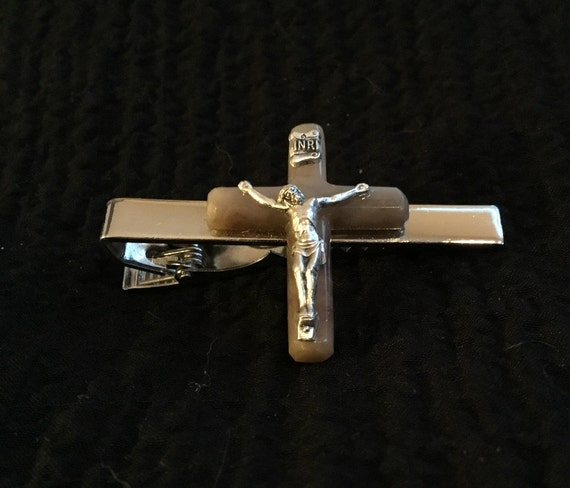Mens crucifix  tie clip/ storm agate cross tie clip/ mens christmas gift/church tie clip/ christian tie clip