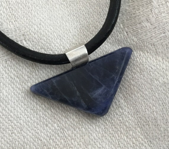 Mans blue triangle pendant/ blue sodalite choker/ blue stone and sterling necklace/blue stone and black rawhide