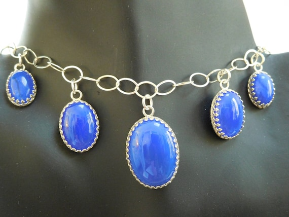 Blue five stone choker/ Blue oval stone necklace/ blue agate and sterling /womans  jewelry/ filigree oval stone choker