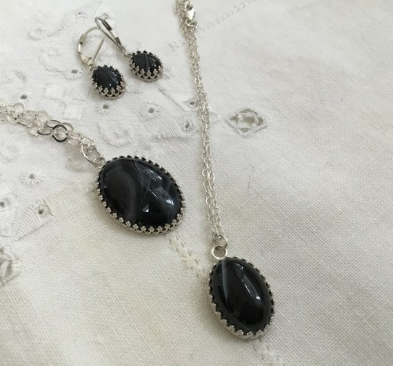 Black lace stone jewelry.Black Lace agate necklace.Filigree Black onyx oval and sterling .earrings.Minimalist jewelry