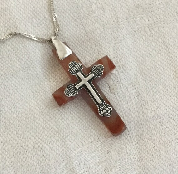 stone and sterling cross/Rust and sterling cross/glass cross pendant/ unisex cross/two sided cross /victorian crucifix