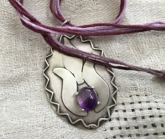 lotus flower necklace/Sterling and amethyst/ purple lotus choker/ sterling choker / budist jewelry