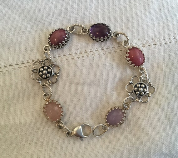 Five stone bracelet/ pink, purple bracelet/stone and  floral link bracelet/ womans spring jewelry / easter jewelry