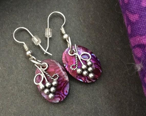 Red wine grape earrings/ purple paua dangle earrings/Fuchsia earrings/small purple oval danges/