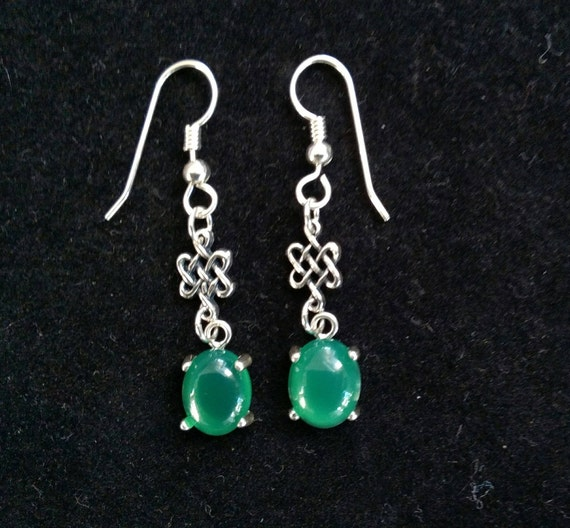 Celtic Dara knot stone earrings/ Irish jewelry/ irish green earrings/ long Celtic drop earrings/womans earrings