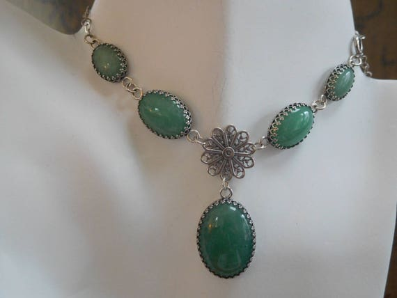 """Green aventurine and sterling silver five stone choker necklace. 15"""" adjustable smaller."""