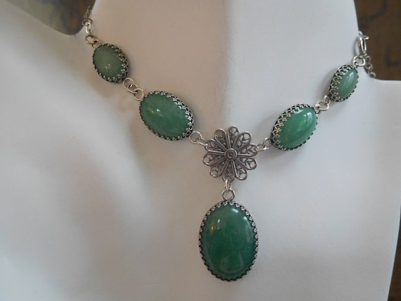 Princess necklace/Green aventurine choker/sterling silver five stone  choker necklace/Statement  jewelry/womans Christmas  jewelry