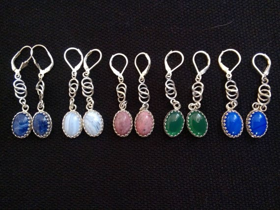 Oval stone and sterling drop earrings/ multiple colored dangles/ purple ,white ,pink,green,blue earrings/ Long silver dangles