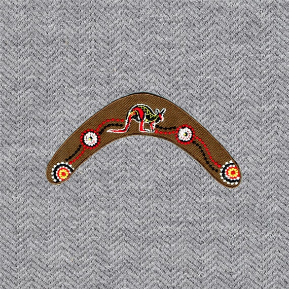 Cute Pretty Brown Boomerang Australia Embroidered Iron on Patch Free Shipping