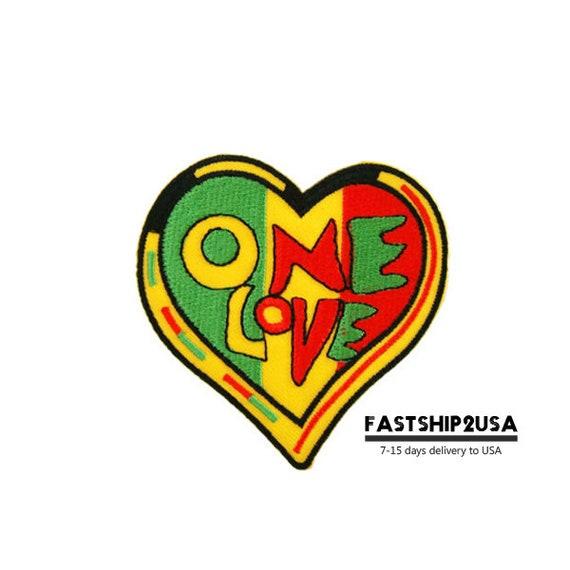 One Love Heart Rasta Raggae Symbol Sign Embroidered Iron On