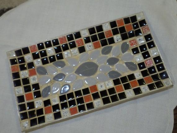 Mid Century Mosaik Fliesen Schale In Rot Schwarz Und Grau Etsy