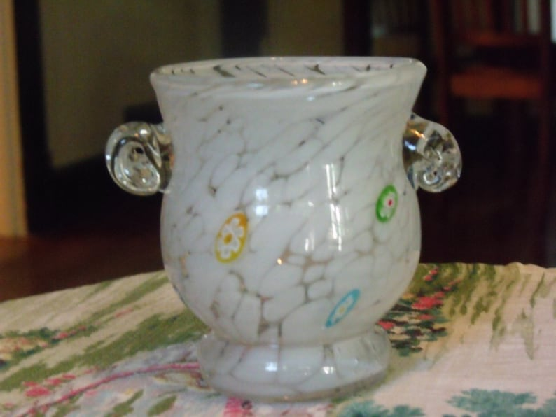 White Murano Glass Vase Decorative Piece With Inlaid Etsy