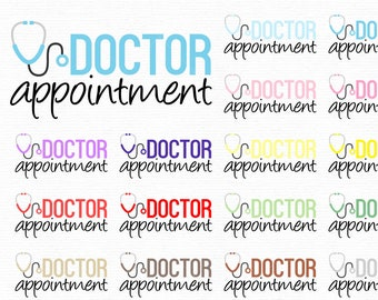 Doctor appointment clipart elements png digital graphic for personal and commercial use