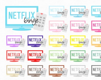 Clipart rainbow netflix binge icons - png graphic elements great for create planner stickers or use with goodnotes - stickers commercial use