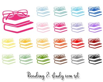 Reading and study icons clipart. Glasses on books PNG graphics set for planner stickers, digital planning, goodnotes. commercial use ok.