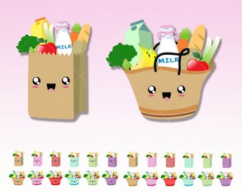 Groceries kawaii Clipart - Cute Digital graphics perfects for Planner Stickers - Inserts - Dividers - Paperclips - Scrapbooking