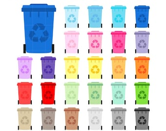 Collection Trash Can Container for garbage, Rainbow recycling Clipart PNG graphics for planner stickers, scraps. Personal or commercial use.